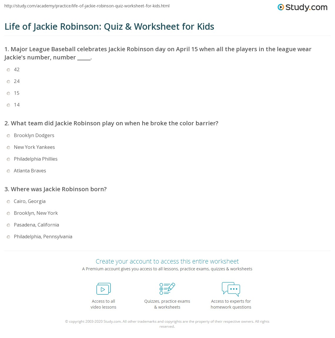 Life Of Jackie Robinson Quiz Amp Worksheet For Kids