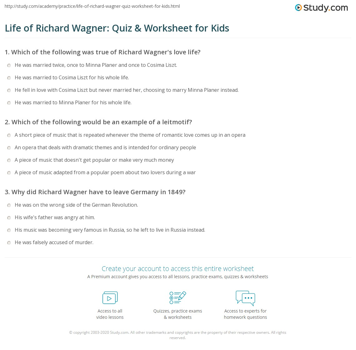 Life Of Richard Wagner Quiz Amp Worksheet For Kids