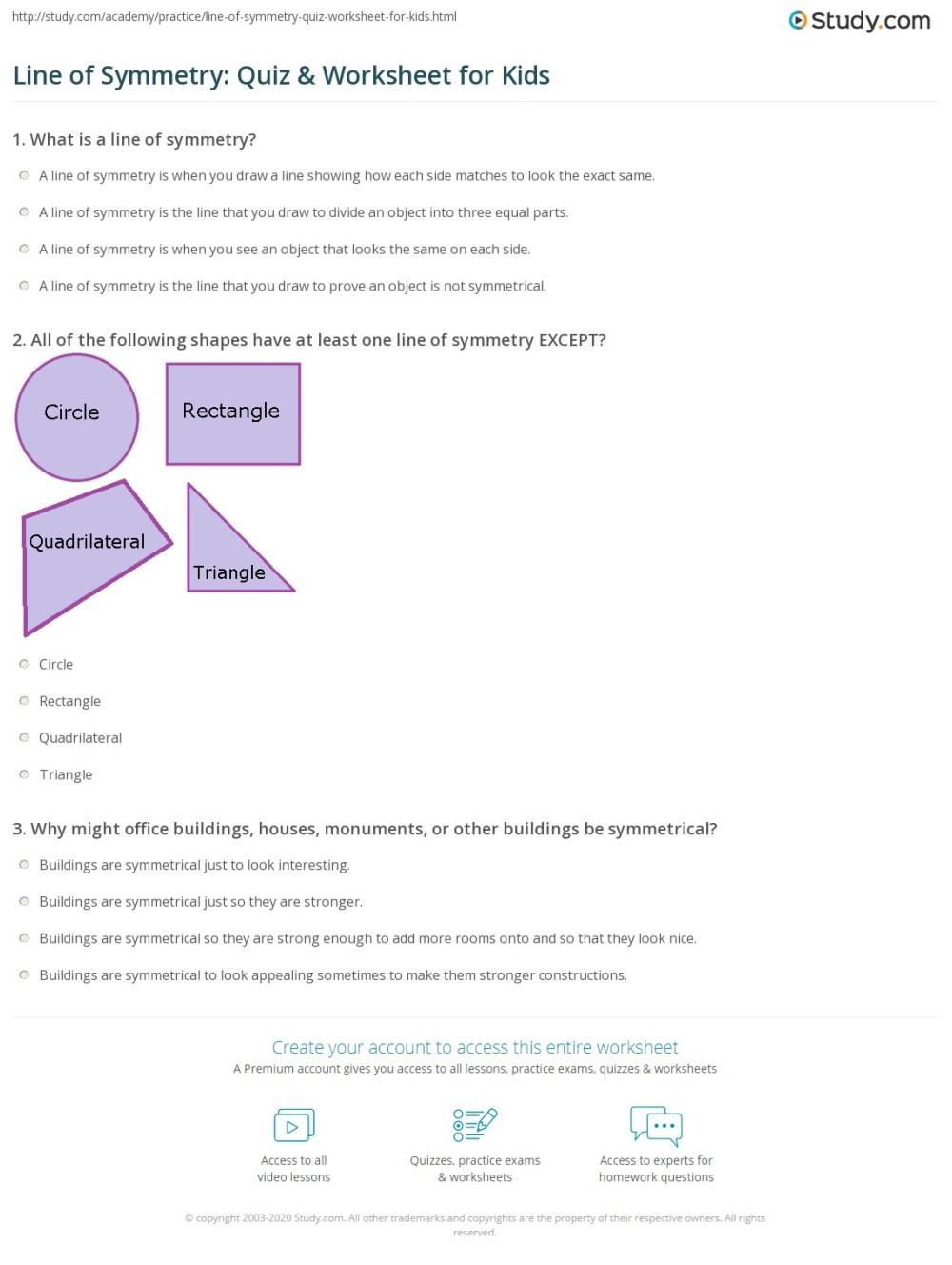medium resolution of Line of Symmetry: Quiz \u0026 Worksheet for Kids   Study.com
