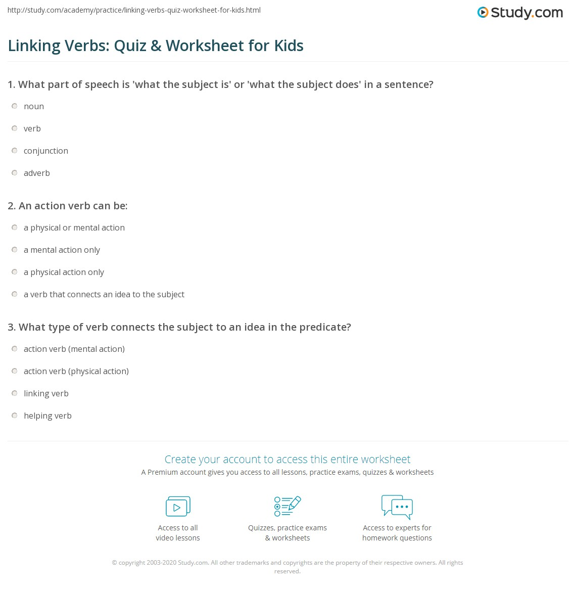 Linking Verbs Quiz Amp Worksheet For Kids