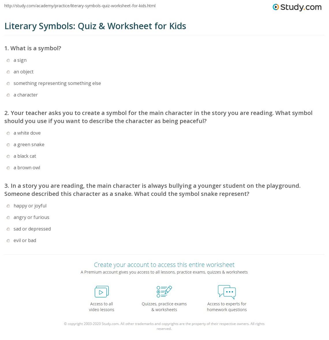 Literary Symbols Quiz Amp Worksheet For Kids