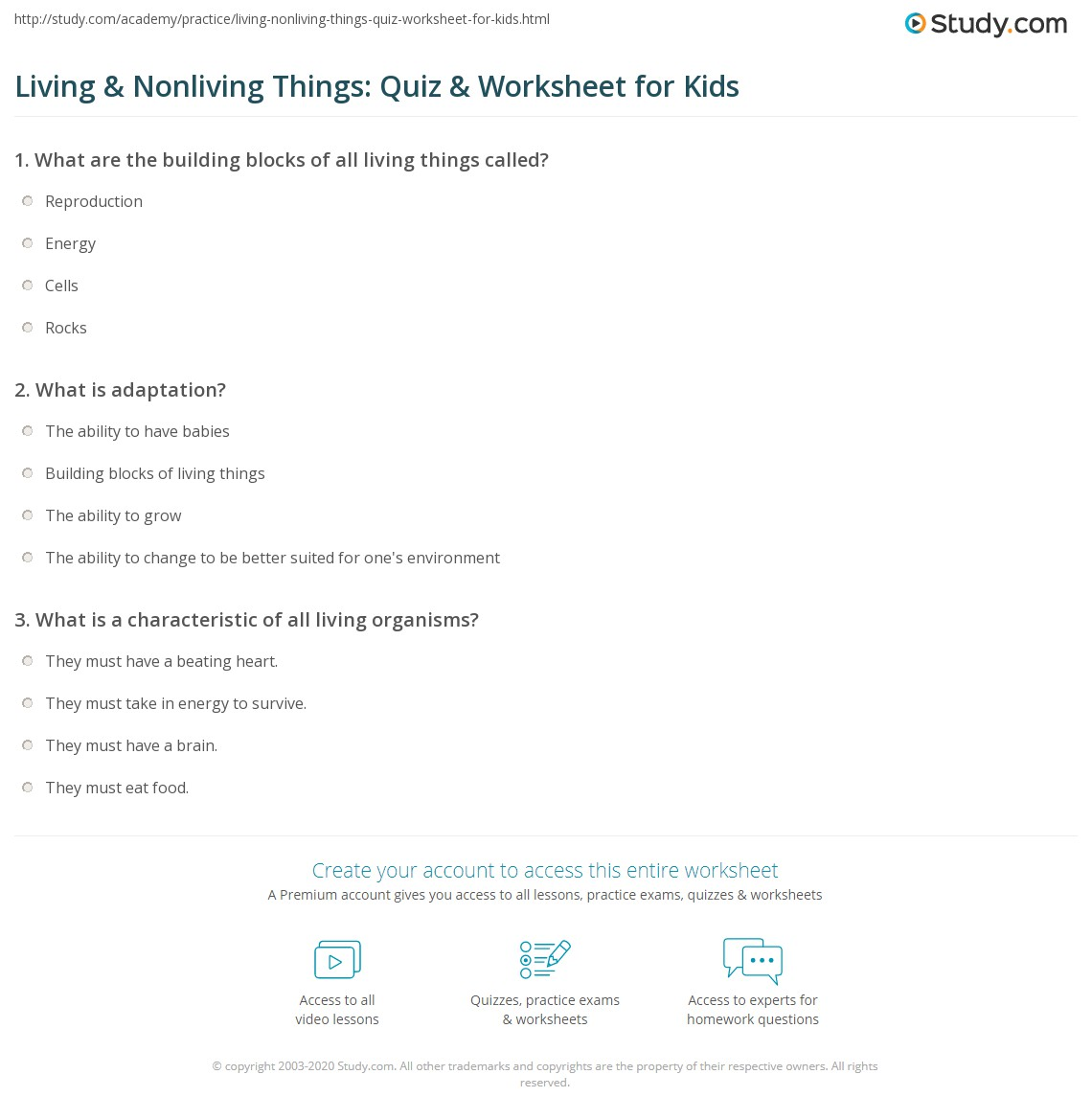 Science Worksheet For Grade 3 Living And Nonliving Things ...