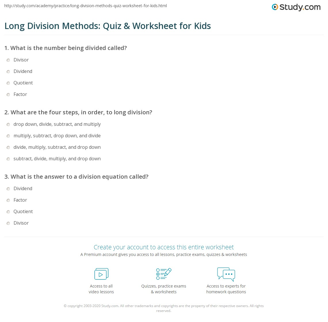 Long Division Methods Quiz Amp Worksheet For Kids
