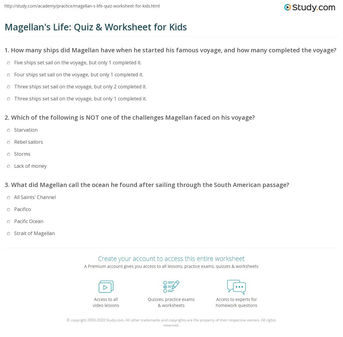 Magellan S Life Quiz Amp Worksheet For Kids