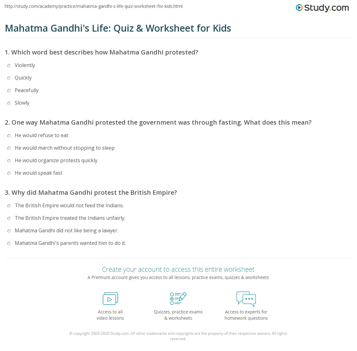 Mahatma Gandhi S Life Quiz Amp Worksheet For Kids