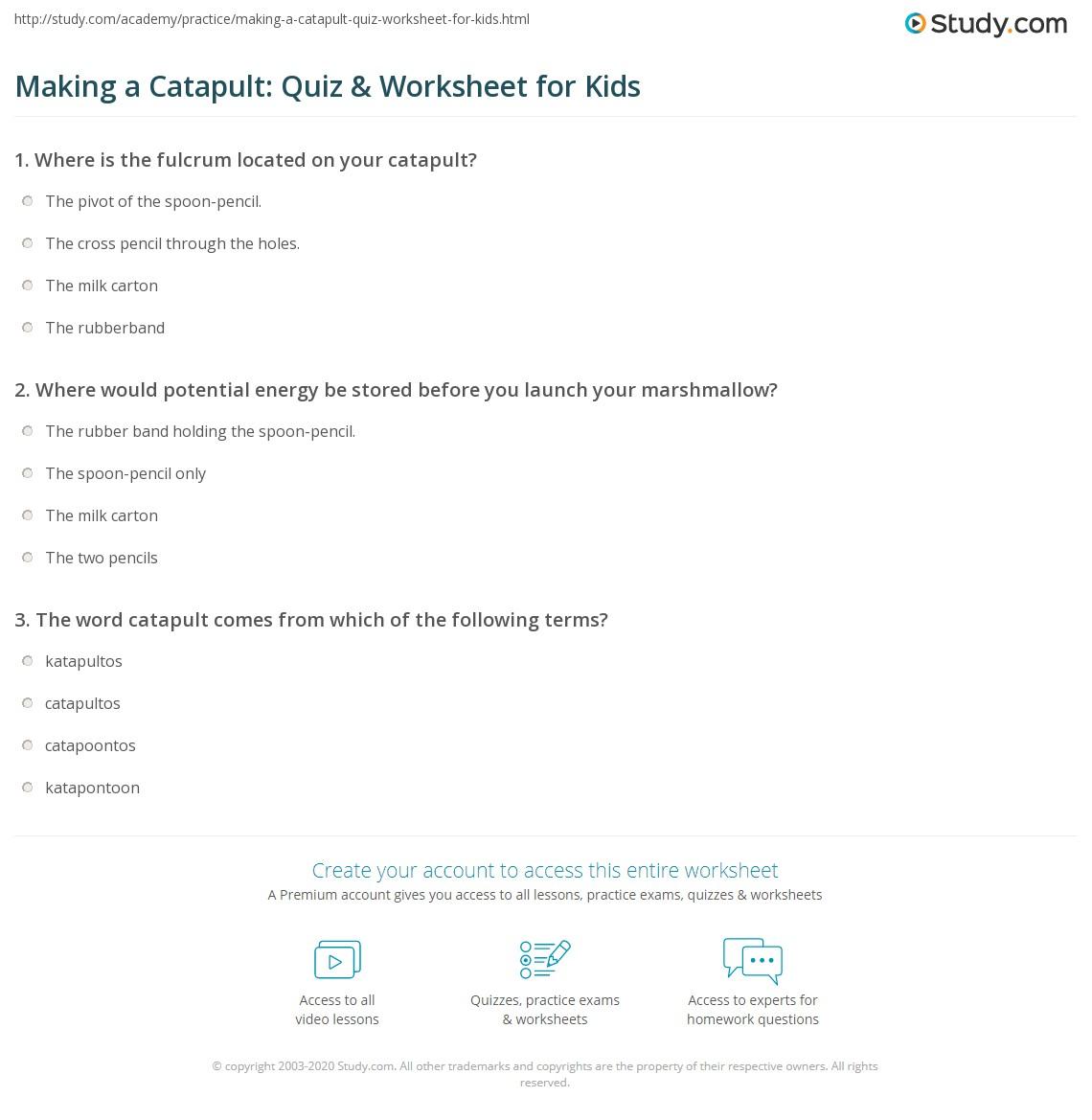 Making A Catapult Quiz Amp Worksheet For Kids