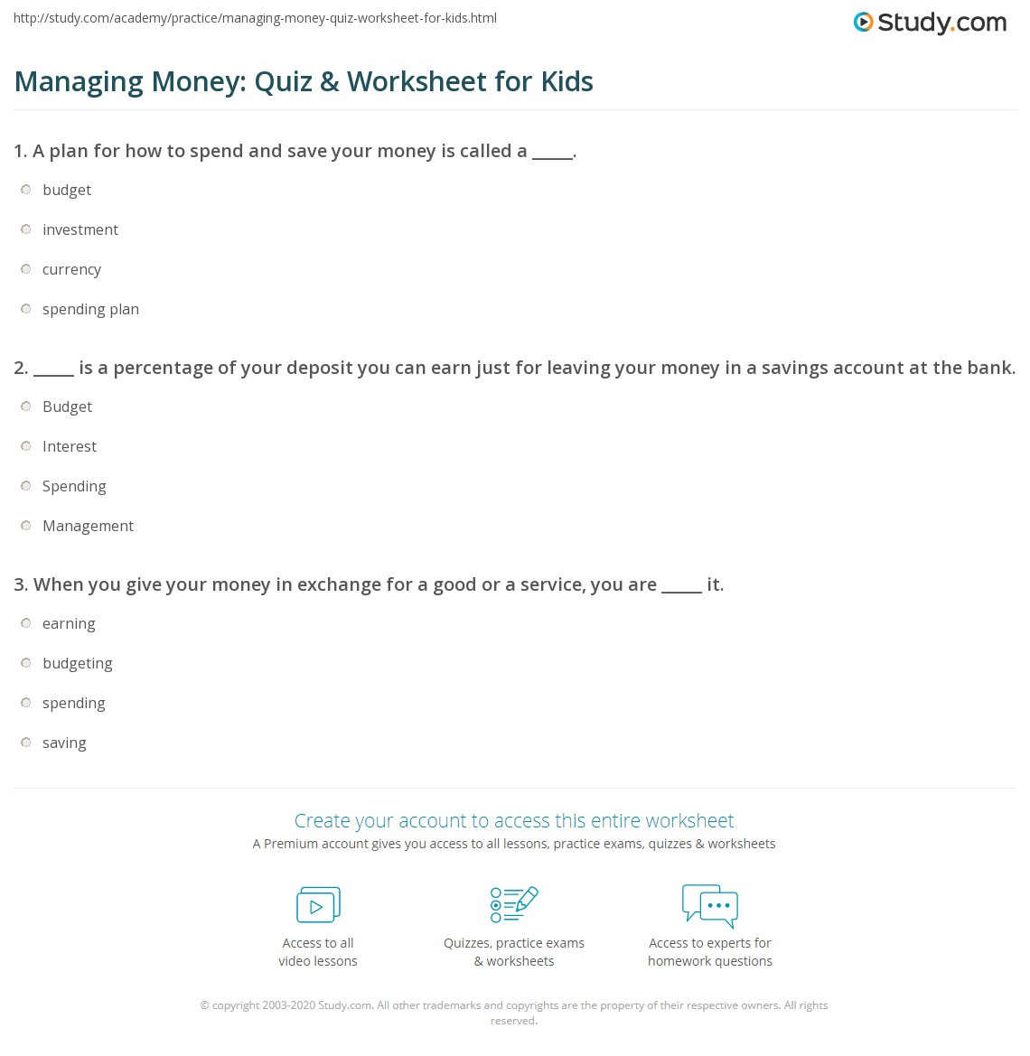 Managing Money Quiz Amp Worksheet For Kids