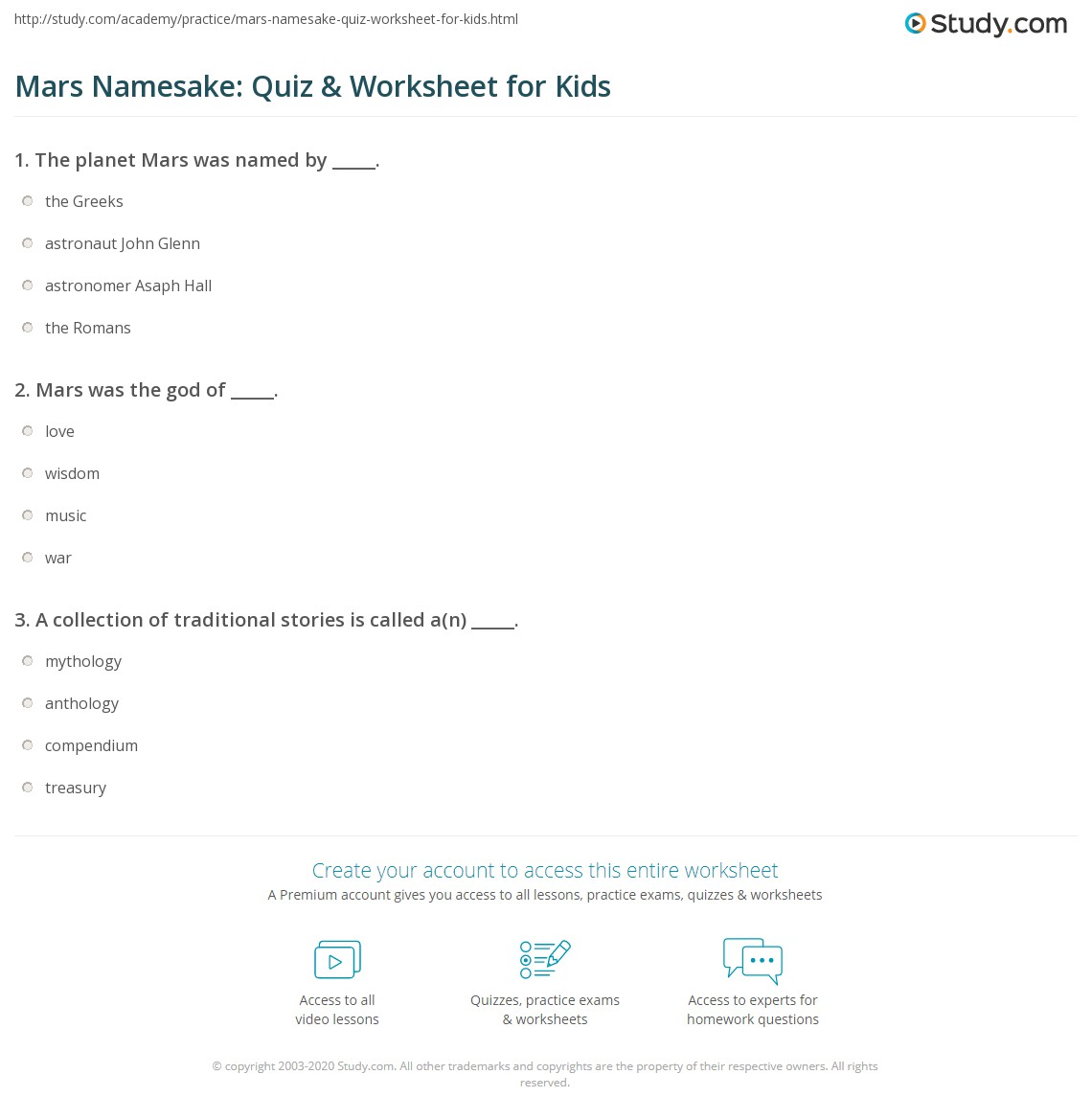 Mars Namesake Quiz Amp Worksheet For Kids