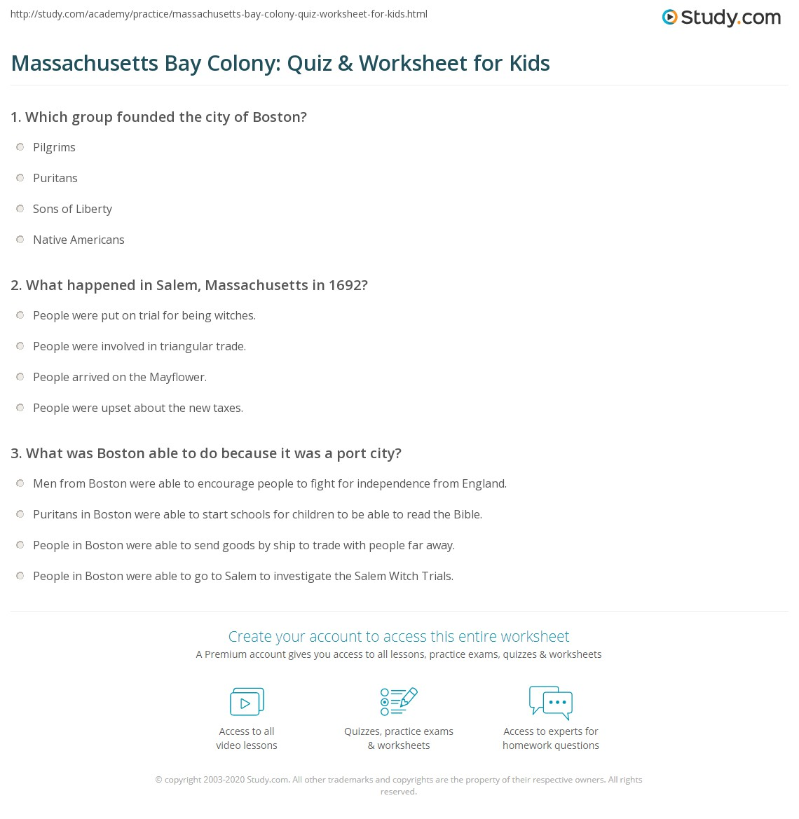 Massachusetts Bay Colony Quiz Amp Worksheet For Kids