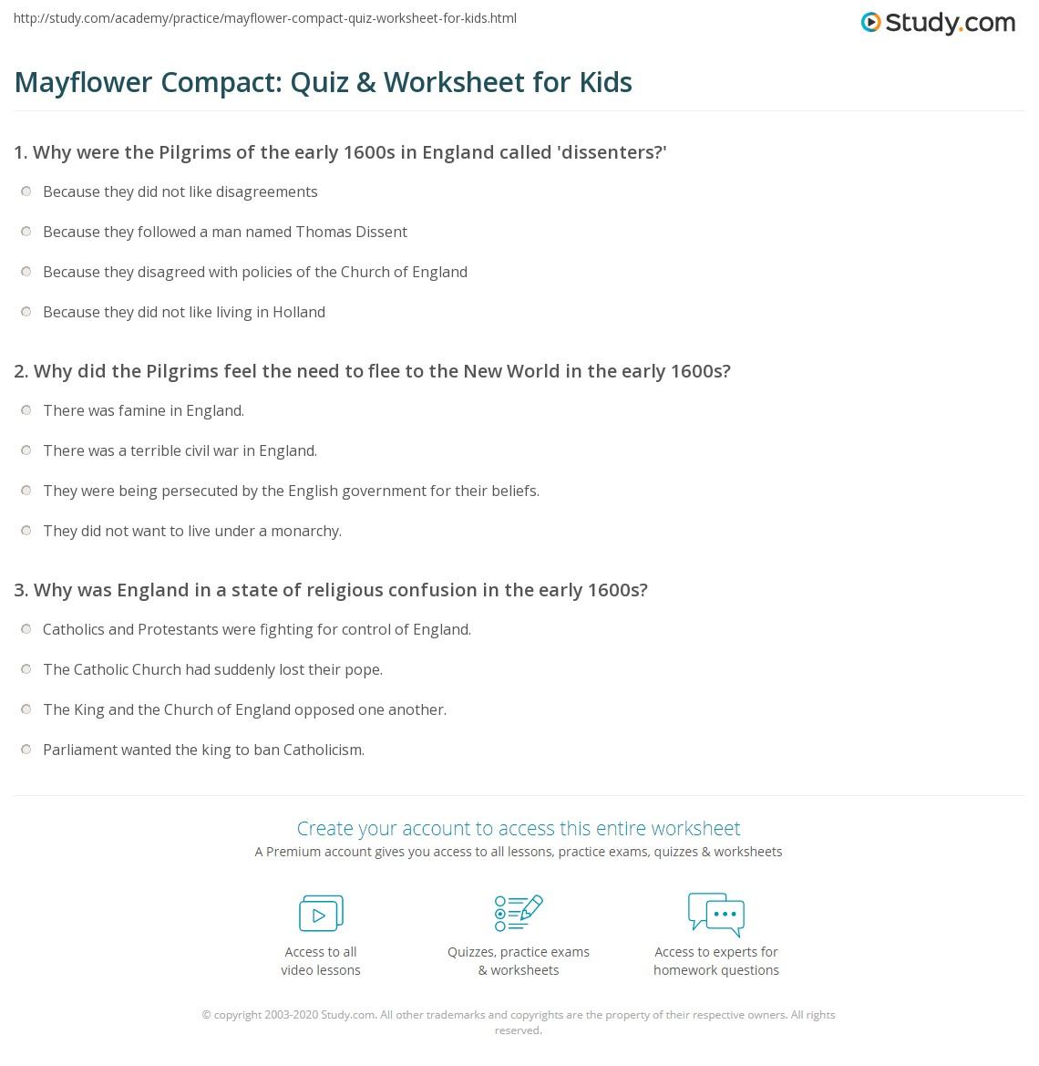Mayflower Compact Quiz Amp Worksheet For Kids