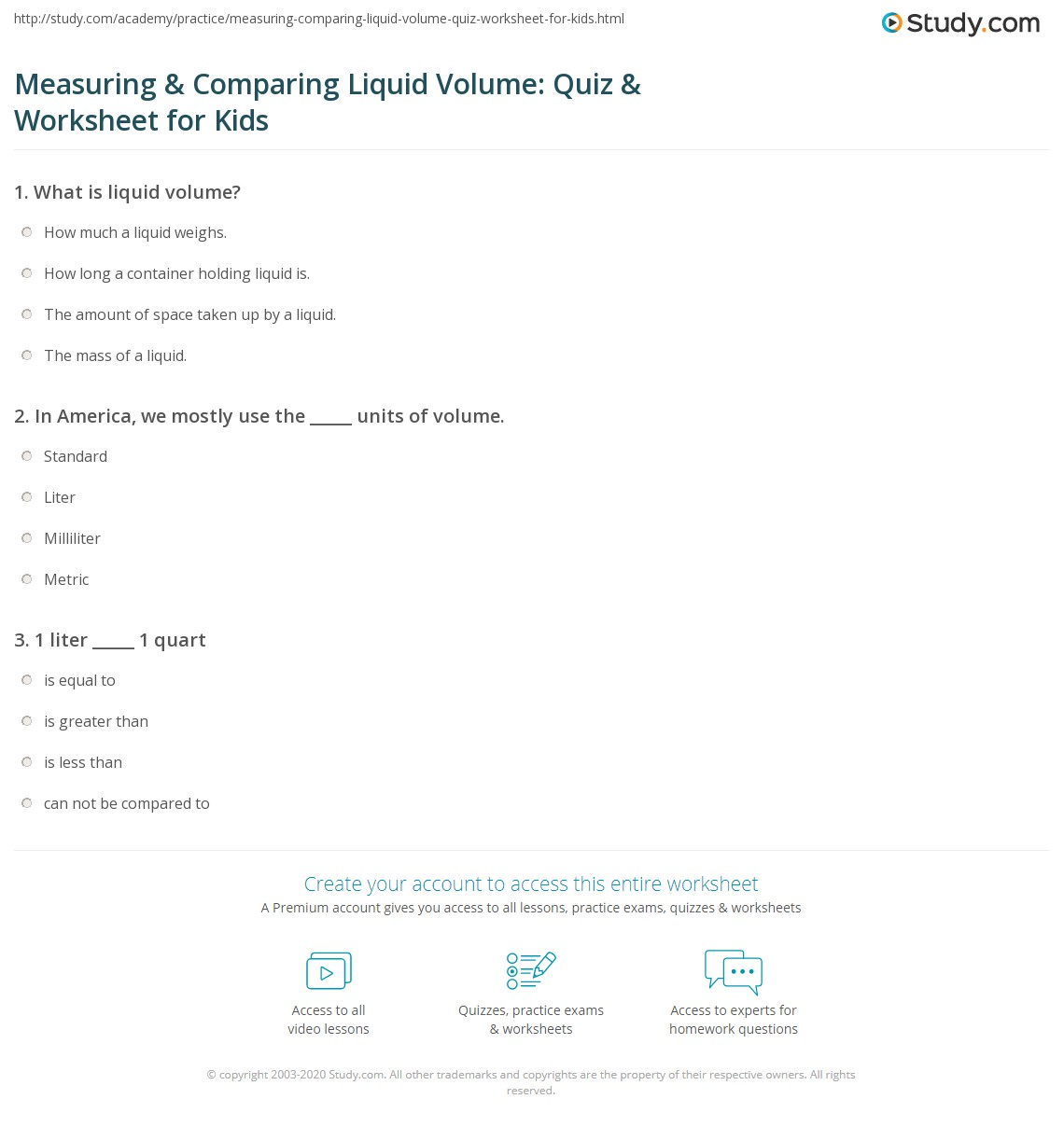 Measuring Amp Comparing Liquid Volume Quiz Amp Worksheet For