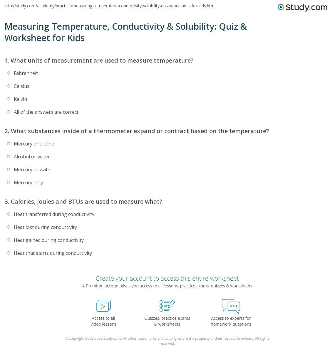 Measuring Temperature Conductivity Amp Solubility Quiz