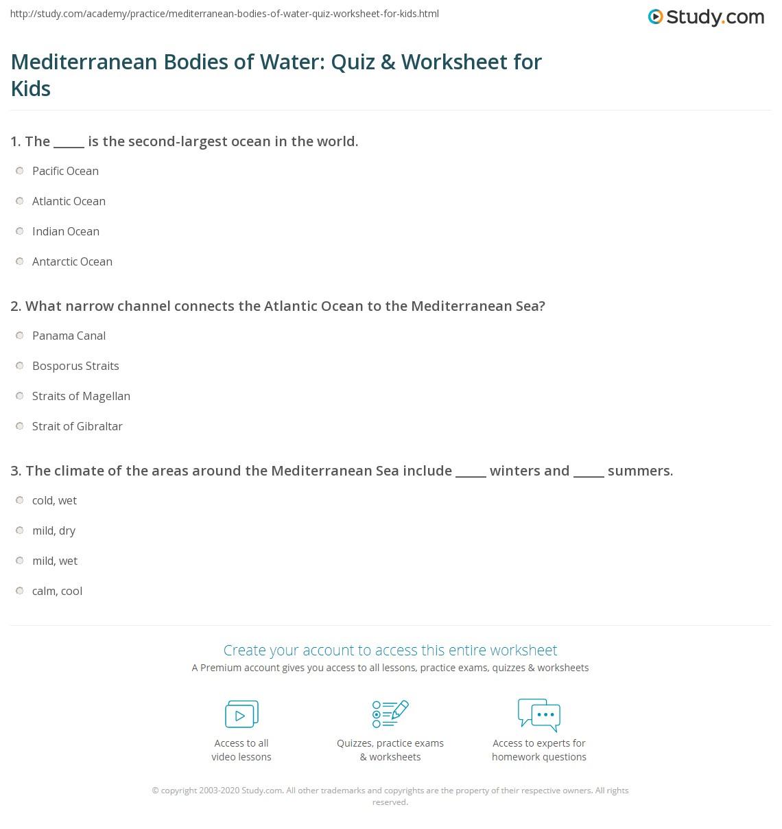 Mediterranean Bo S Of Water Quiz Amp Worksheet For Kids