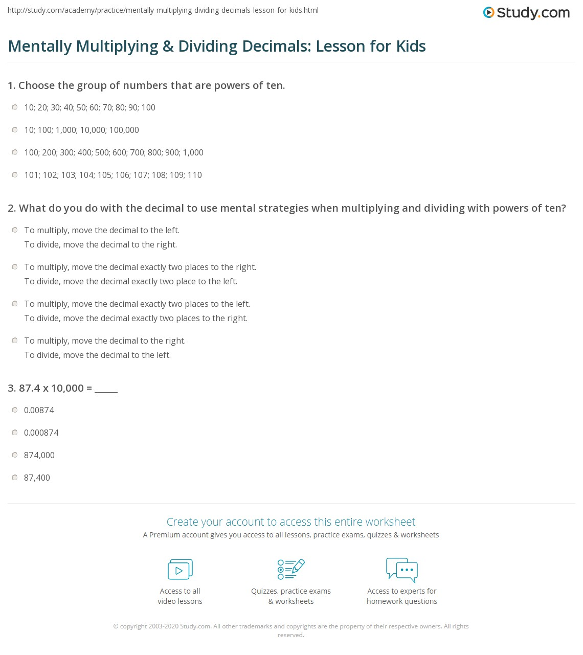 Mentally Multiplying Amp Dividing Decimals Lesson For Kids