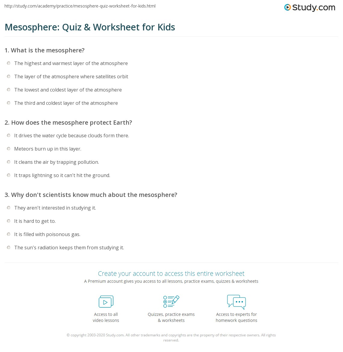 Mesosphere Quiz Amp Worksheet For Kids