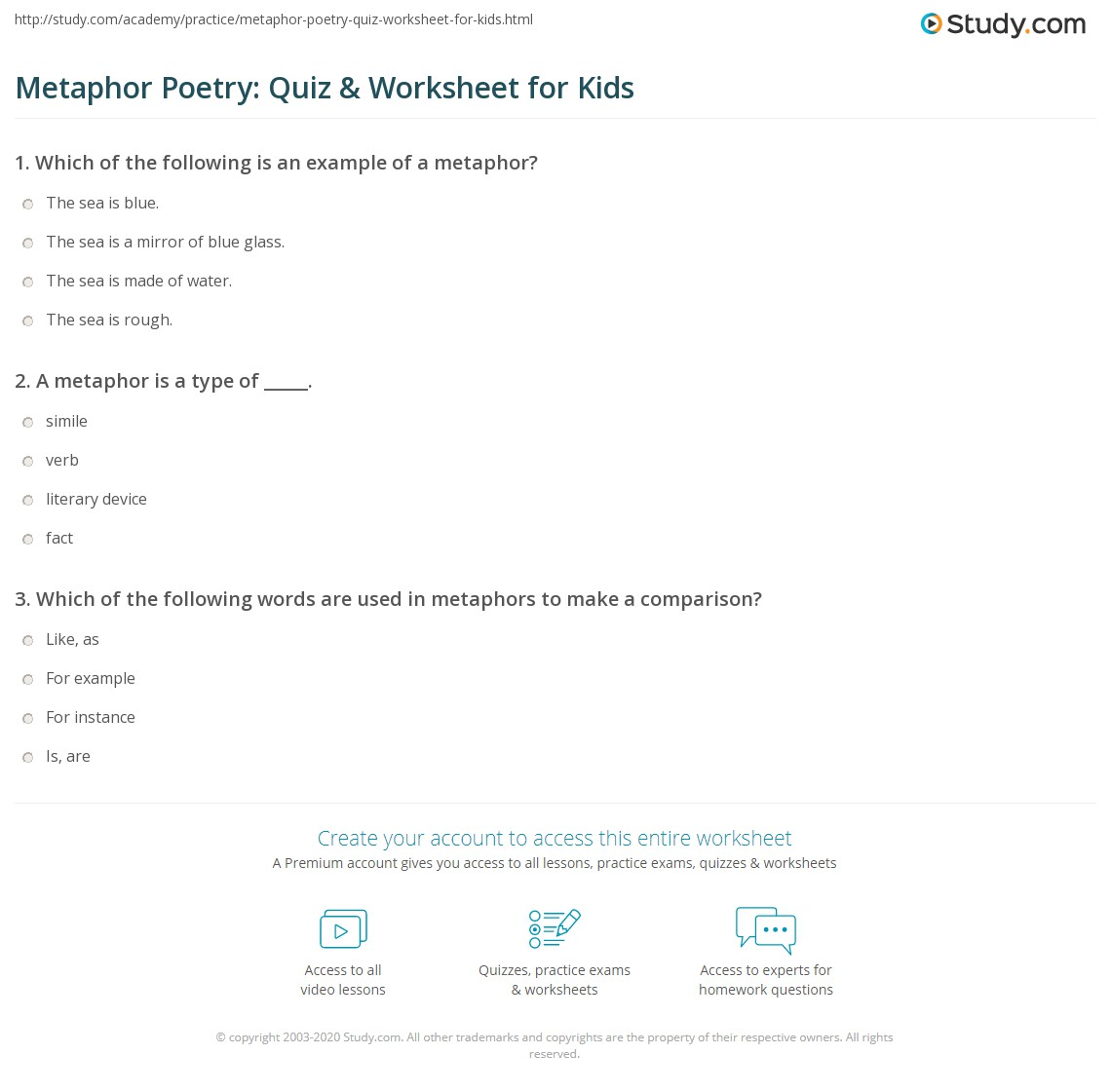 Metaphor Poetry Quiz Amp Worksheet For Kids