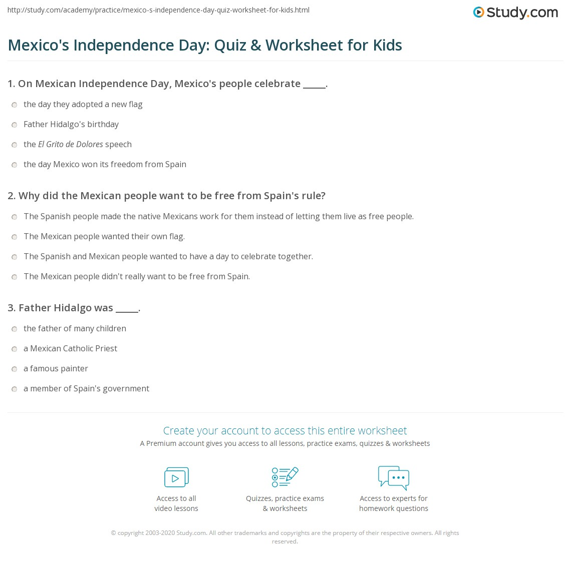 Mexico S Independence Day Quiz Amp Worksheet For Kids