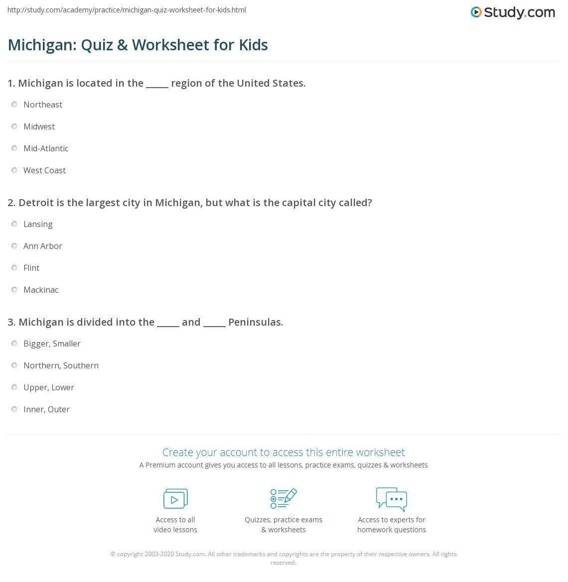 Michigan Quiz Amp Worksheet For Kids
