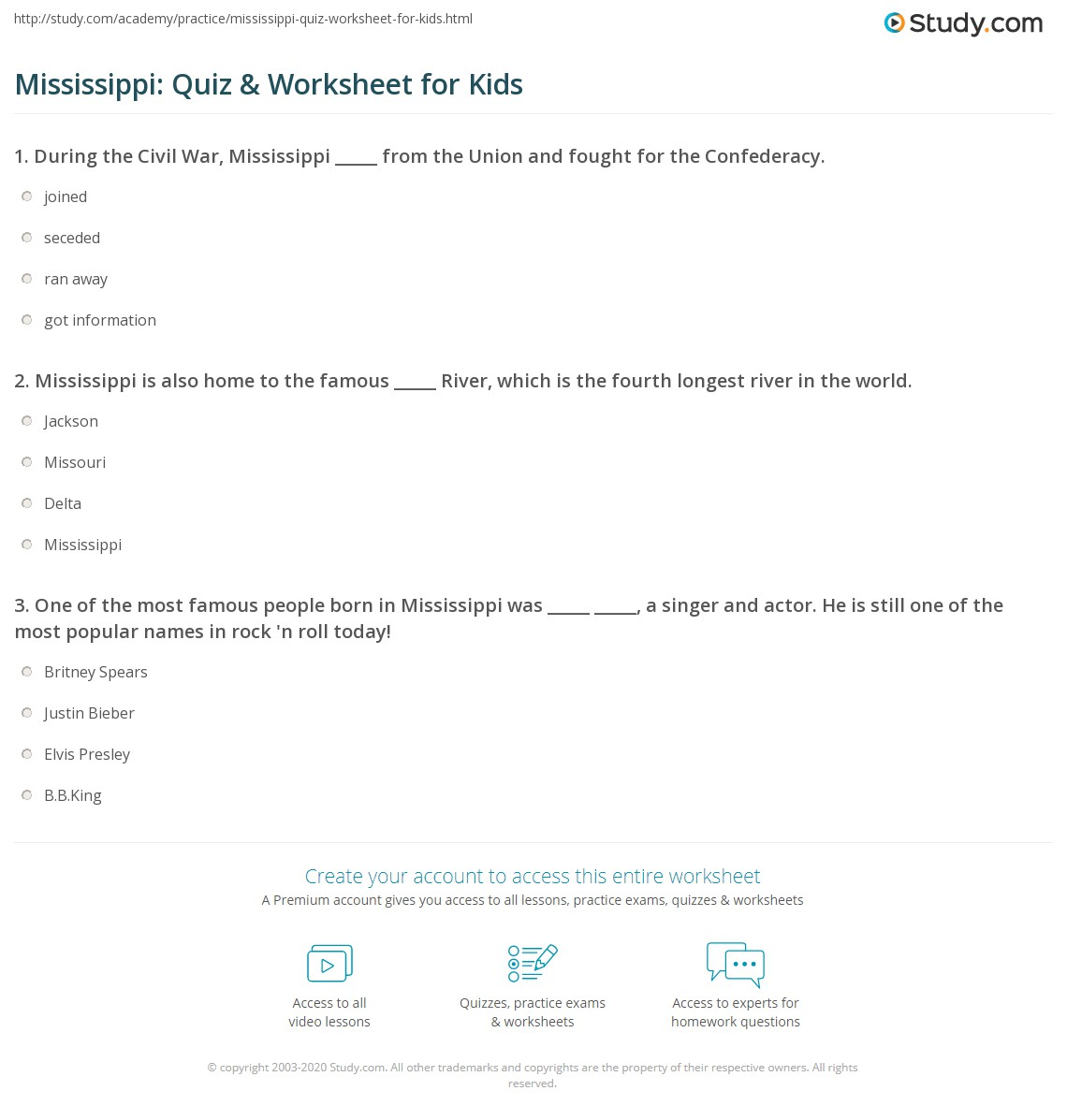 Mississippi Quiz Amp Worksheet For Kids