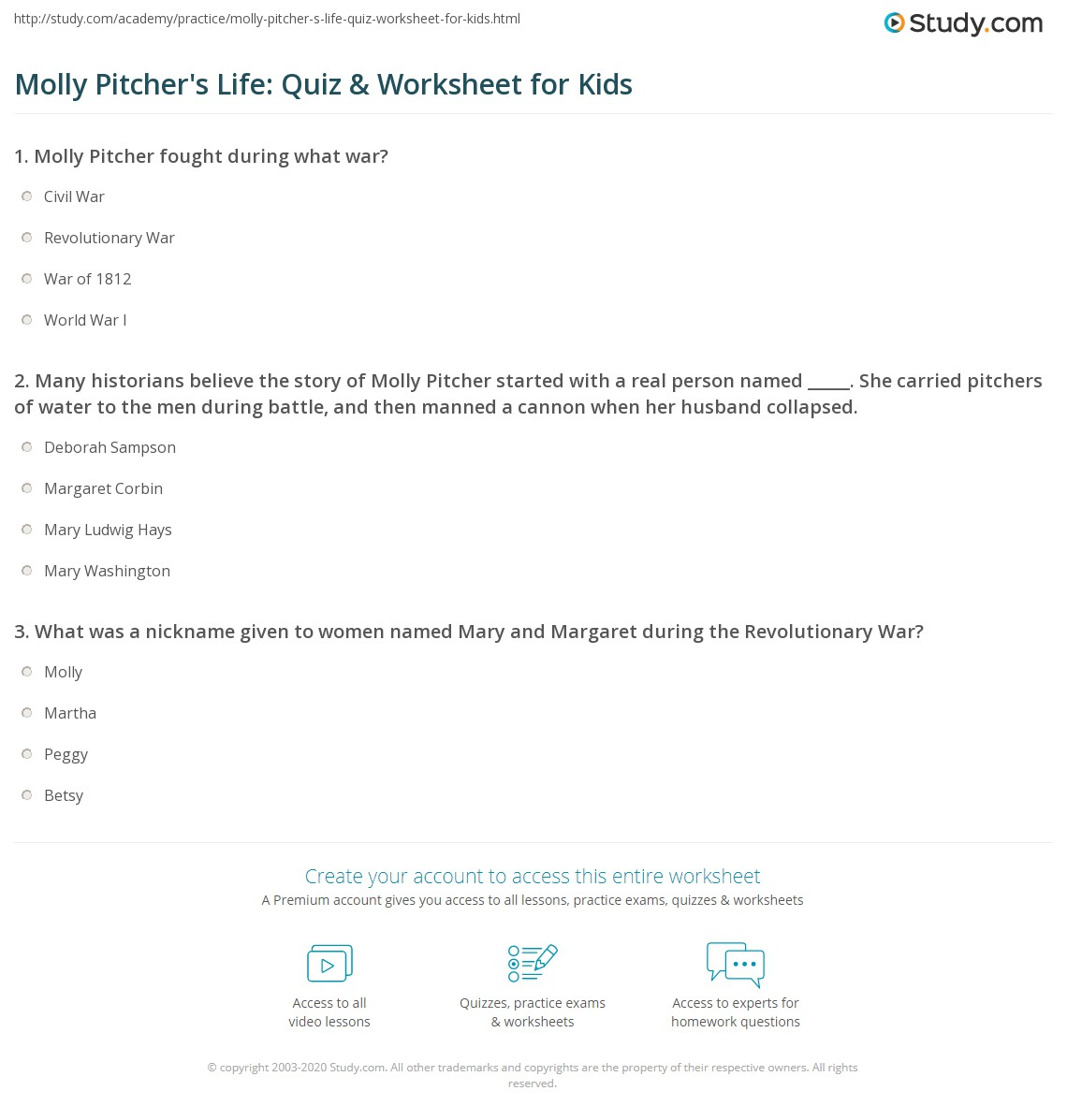Molly Pitcher S Life Quiz Amp Worksheet For Kids