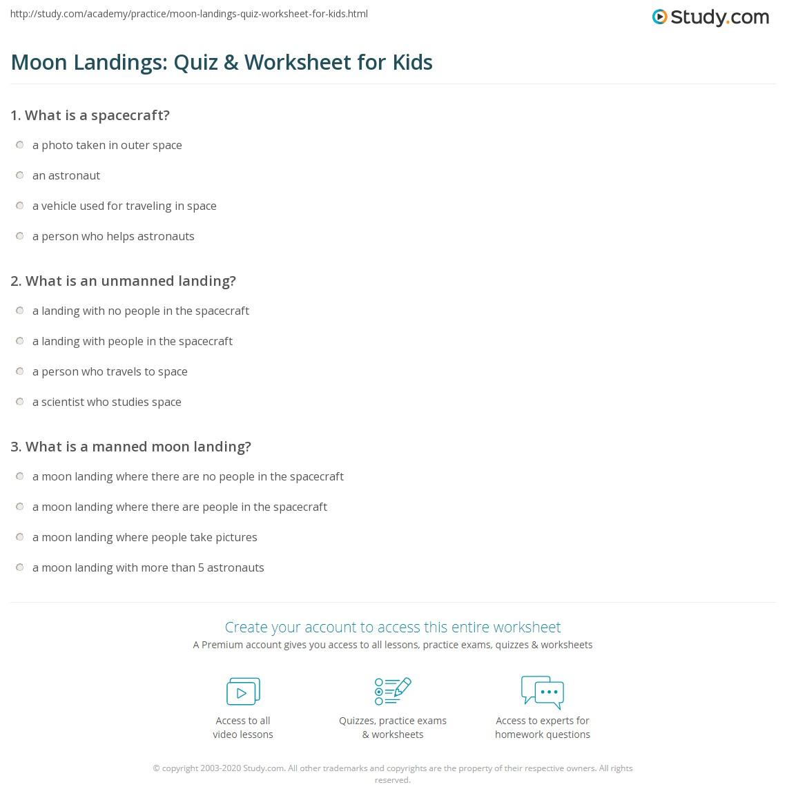 Moon Landings Quiz Amp Worksheet For Kids