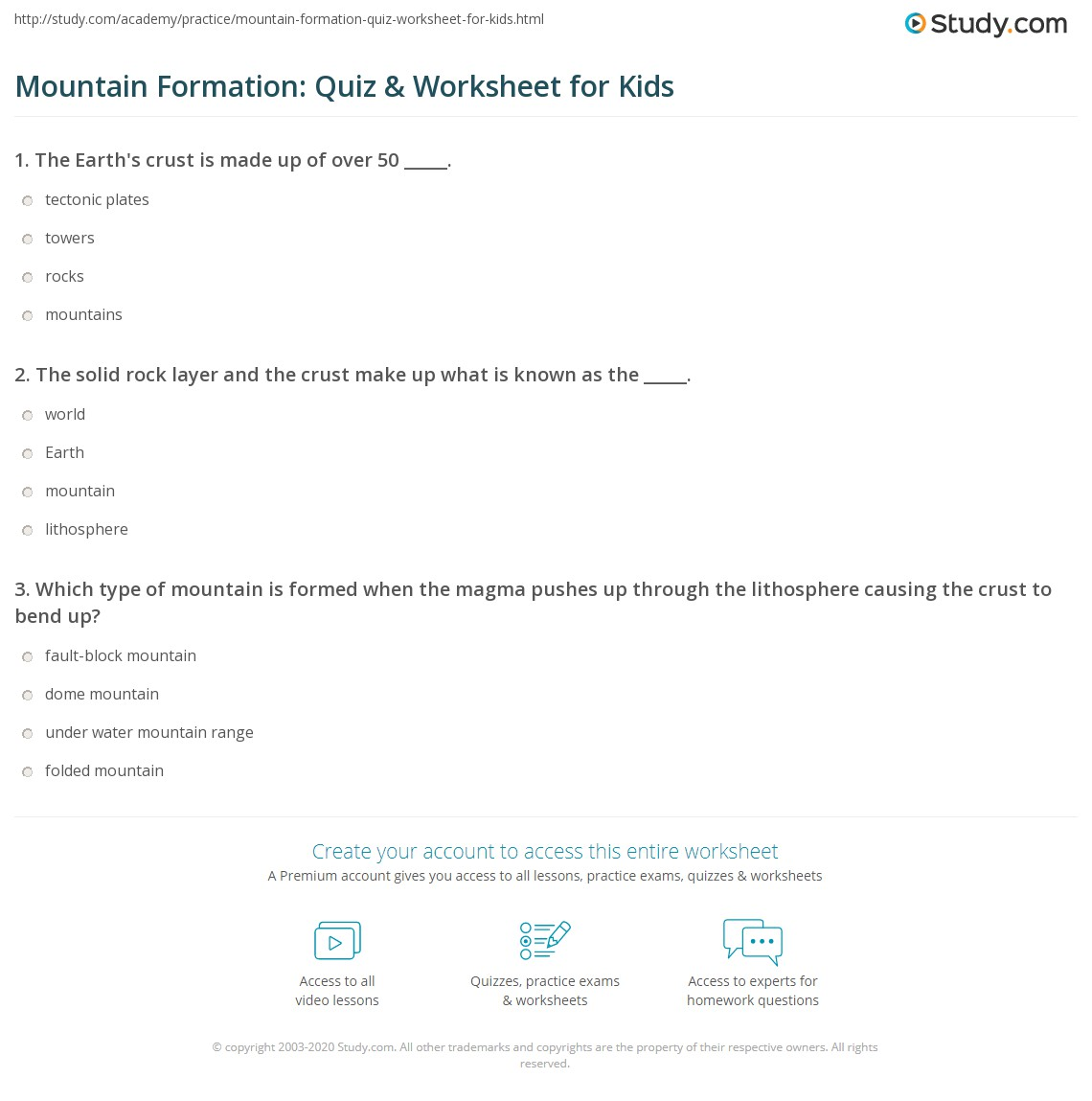 Mountain Formation Quiz Amp Worksheet For Kids