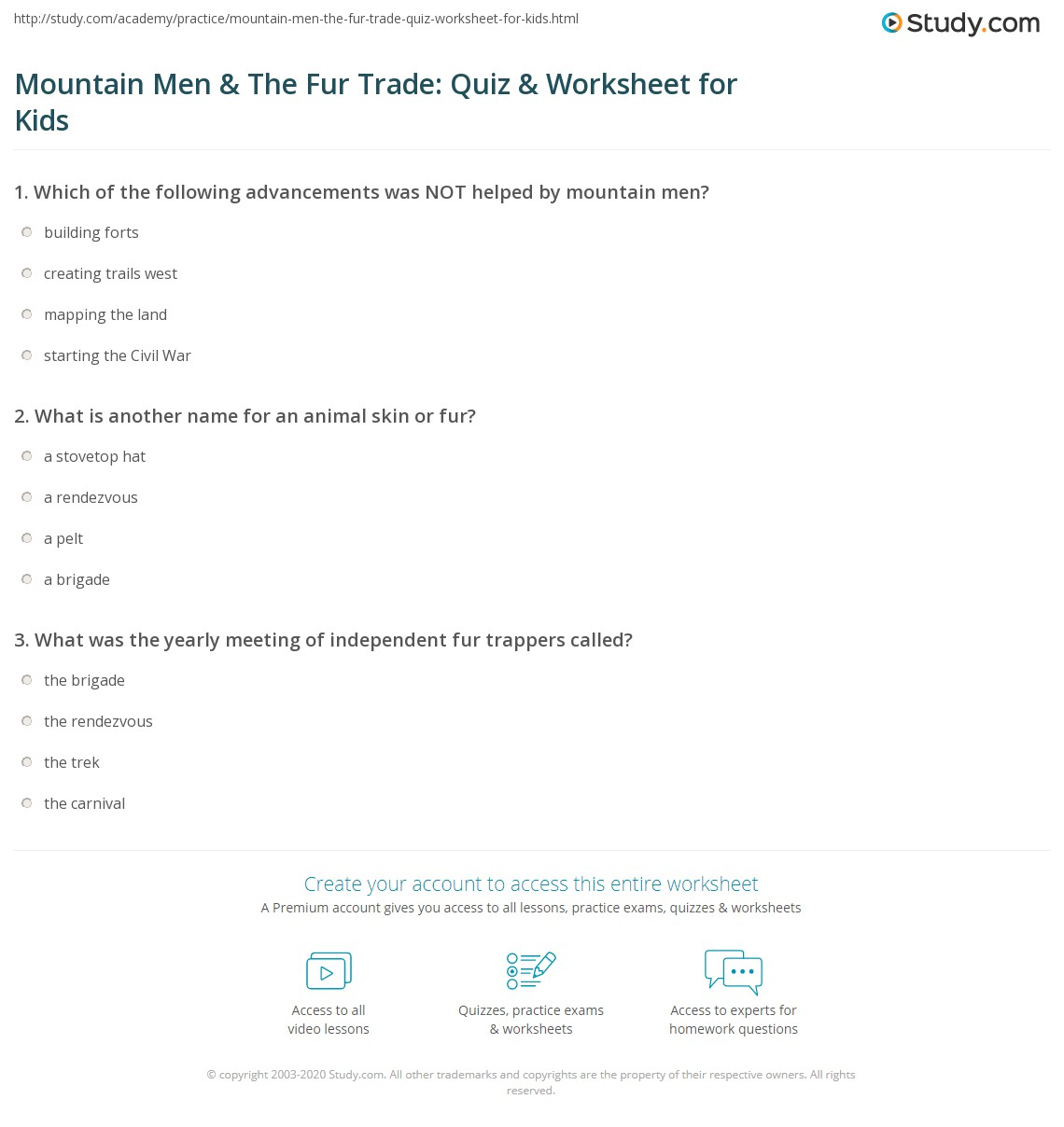 Mountain Men Amp The Fur Trade Quiz Amp Worksheet For Kids