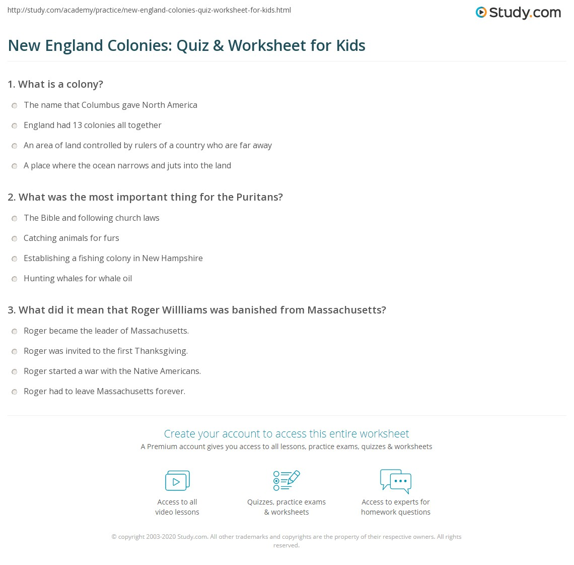 New England Colonies Quiz Amp Worksheet For Kids