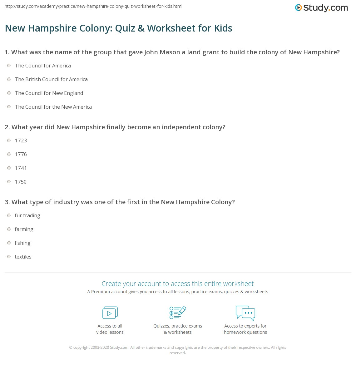 New Hampshire Colony Quiz Amp Worksheet For Kids