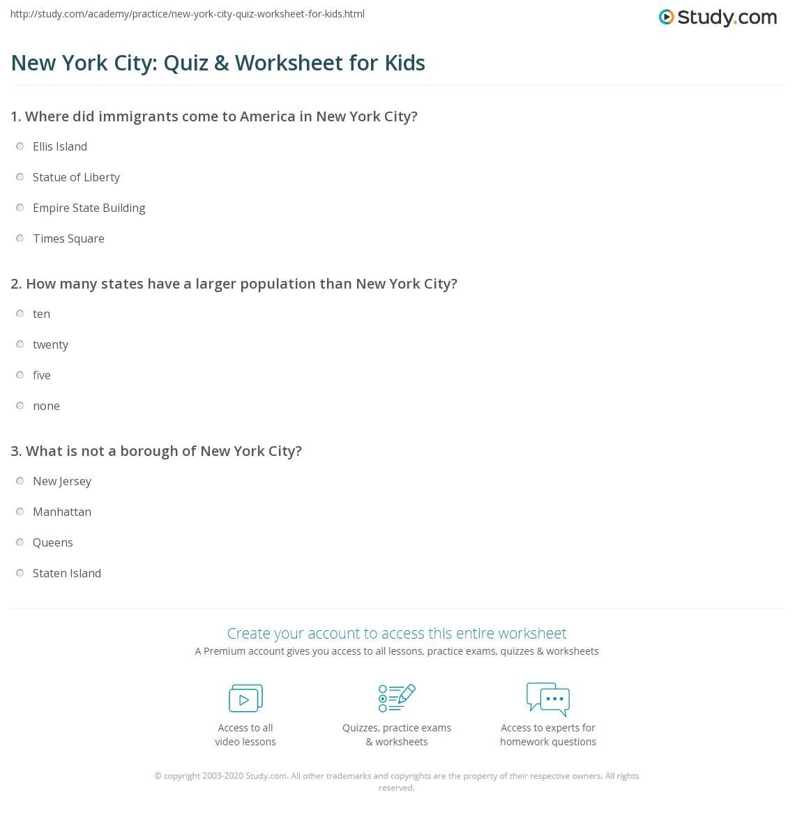 New York City Quiz Amp Worksheet For Kids