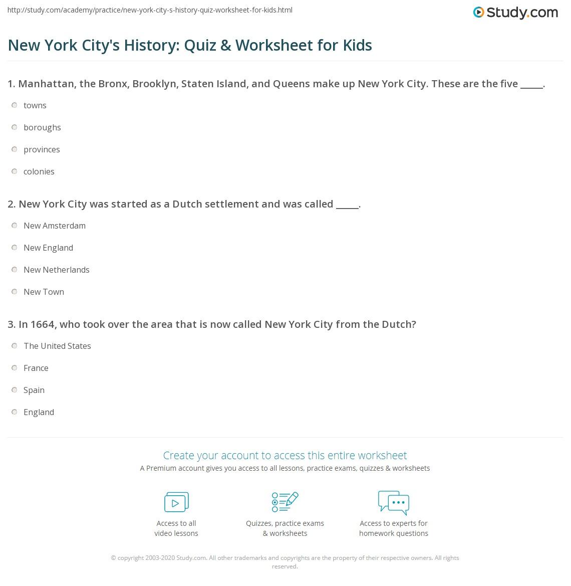 New York City S History Quiz Amp Worksheet For Kids
