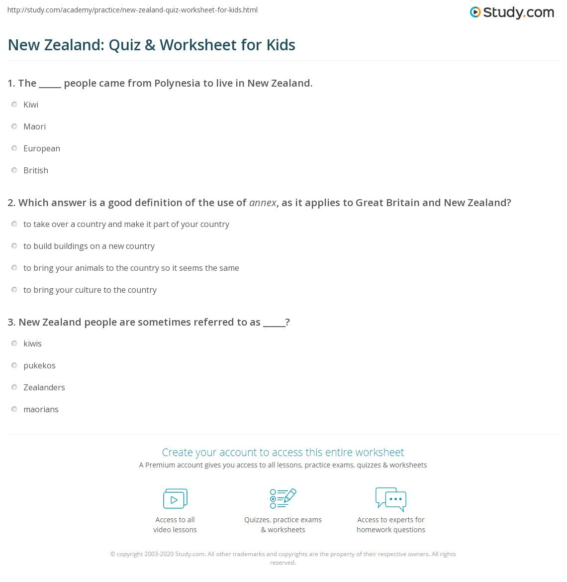 New Zealand Quiz Amp Worksheet For Kids