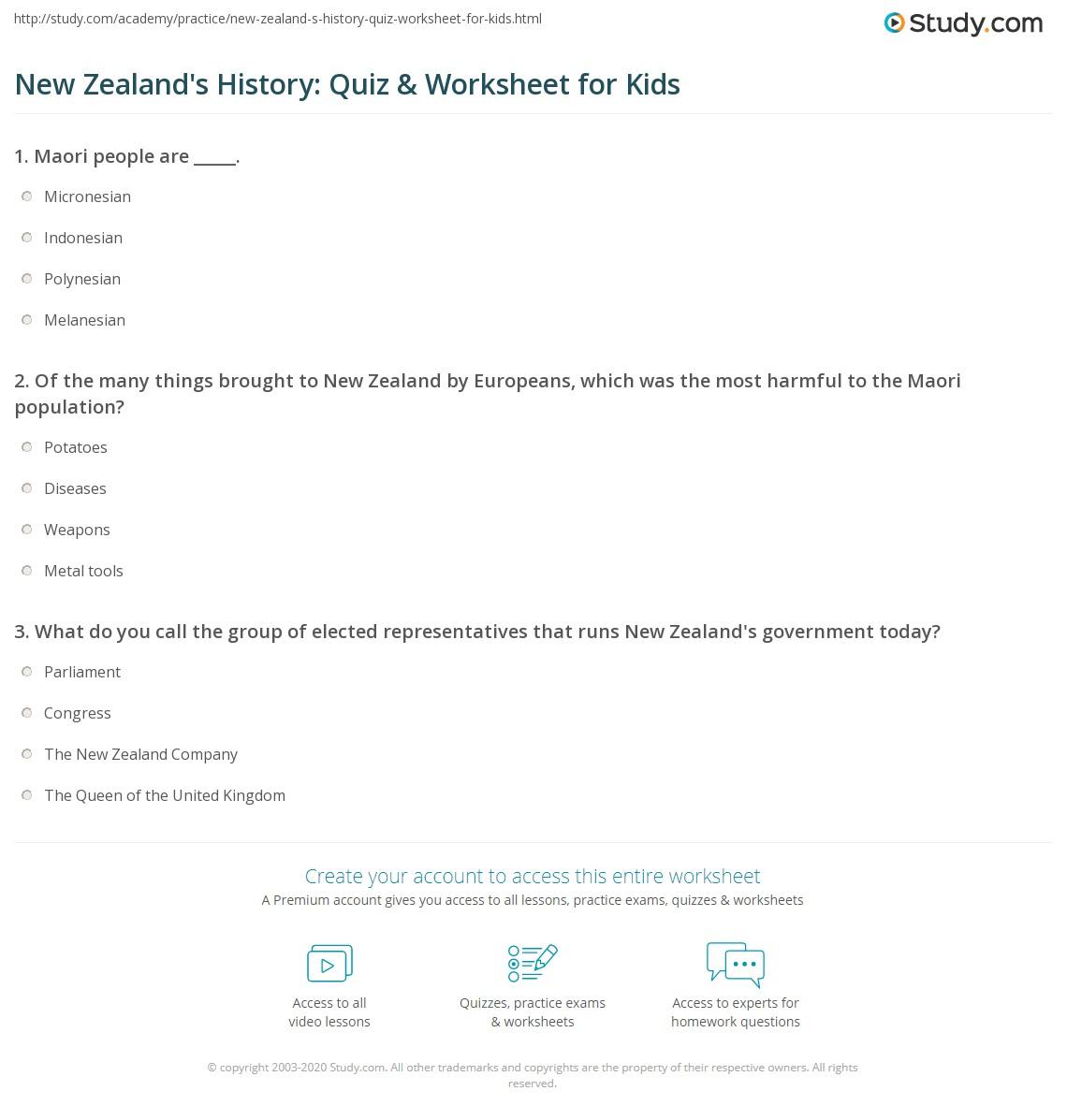 New Zealand S History Quiz Amp Worksheet For Kids