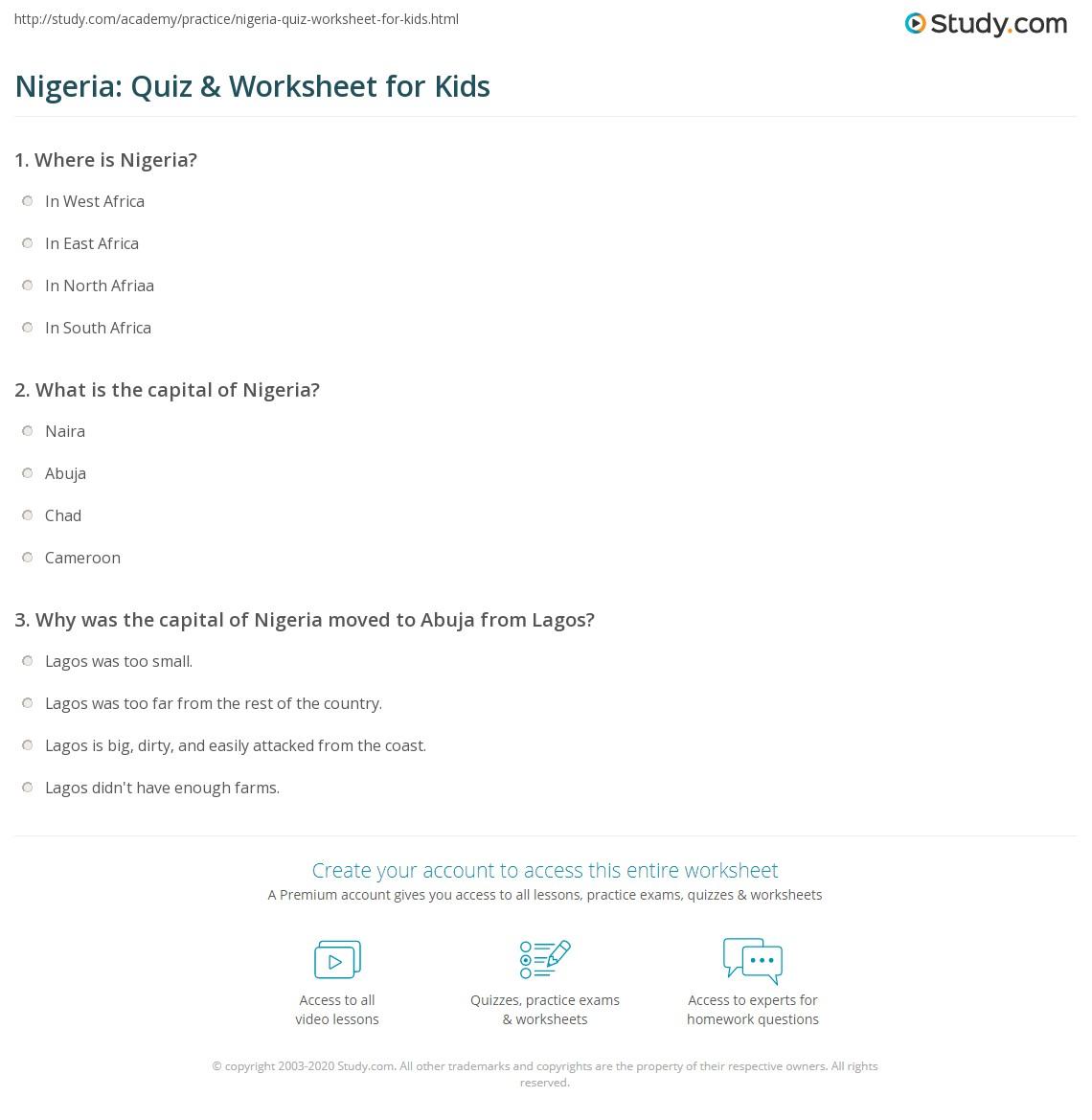 hight resolution of Nigeria: Quiz \u0026 Worksheet for Kids   Study.com