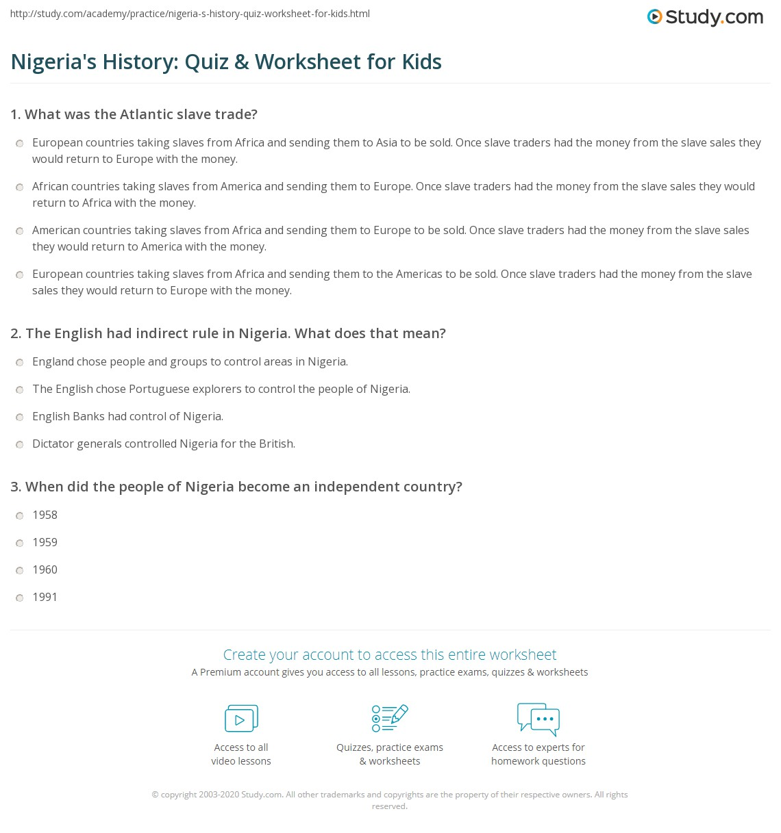 Nigeria S History Quiz Amp Worksheet For Kids