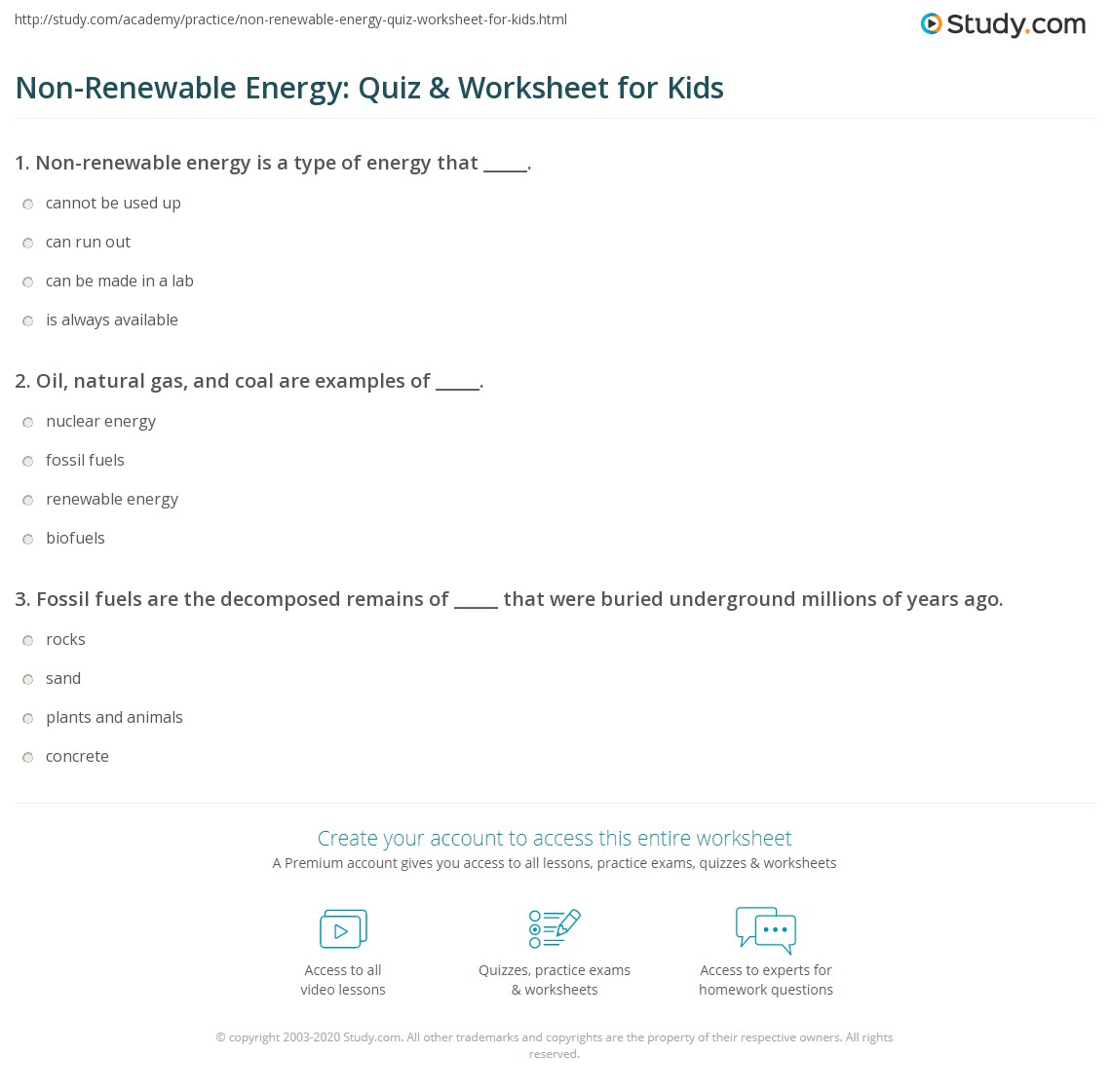 Non Renewable Energy Quiz Amp Worksheet For Kids