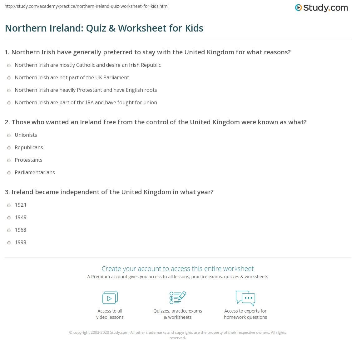 Northern Ireland Quiz Amp Worksheet For Kids
