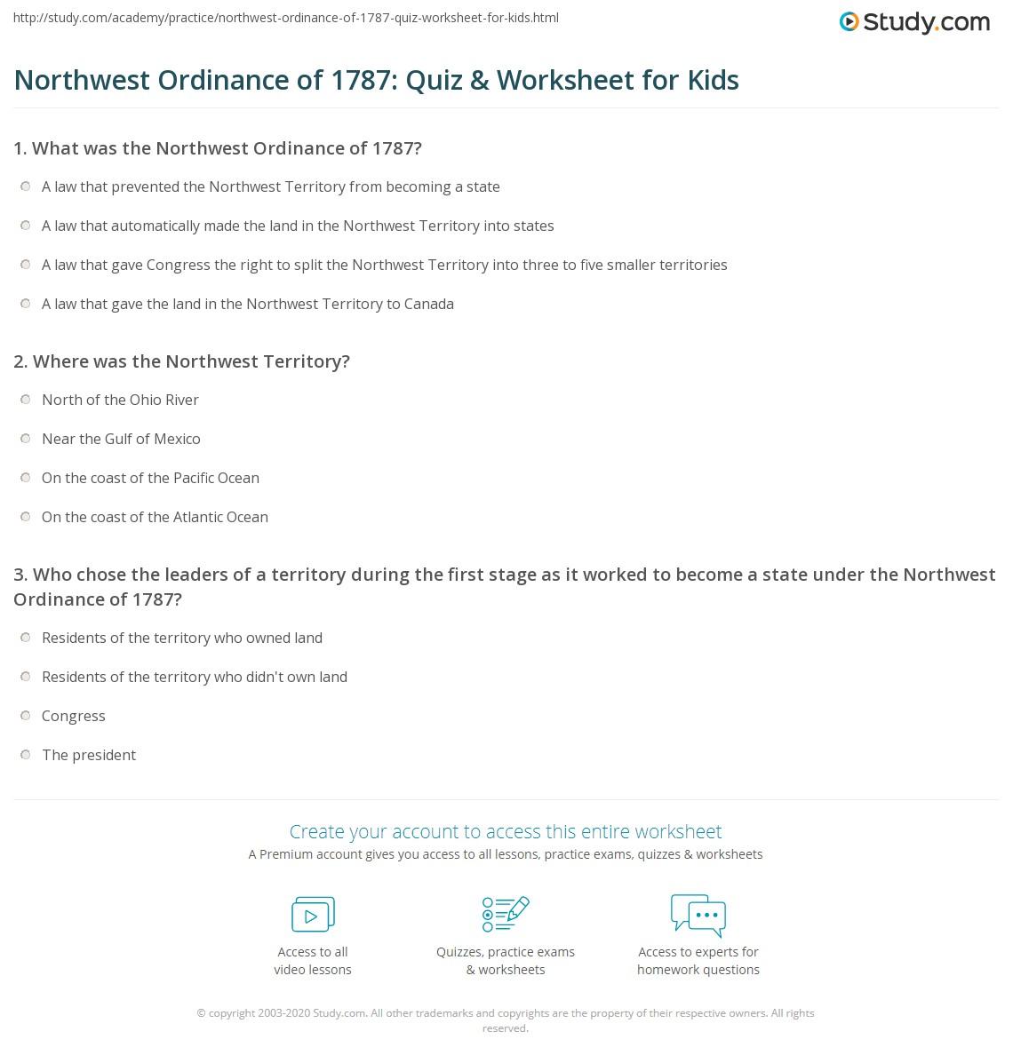 Northwest Ordinance Of Quiz Amp Worksheet For Kids