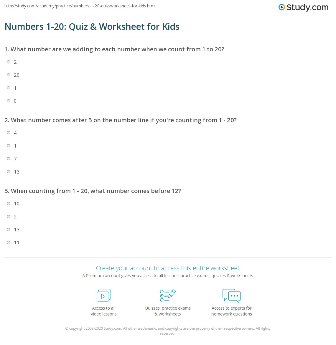 Numbers 1 20 Quiz Amp Worksheet For Kids