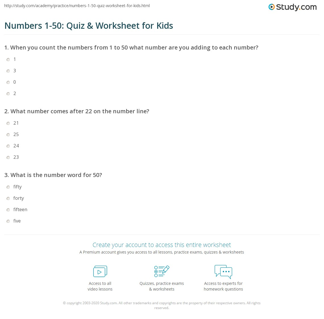 Numbers 1 50 Quiz Amp Worksheet For Kids