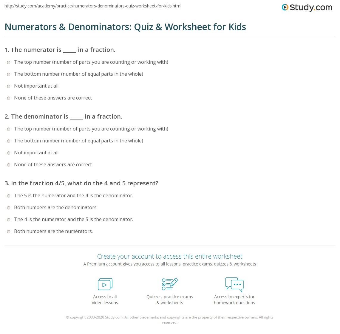 hight resolution of Numerators \u0026 Denominators: Quiz \u0026 Worksheet for Kids   Study.com