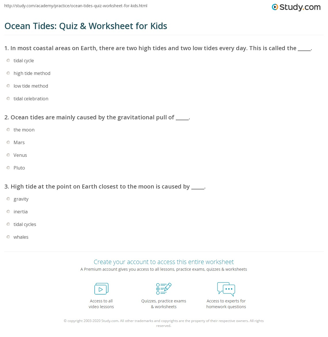 Ocean Tides Quiz Amp Worksheet For Kids