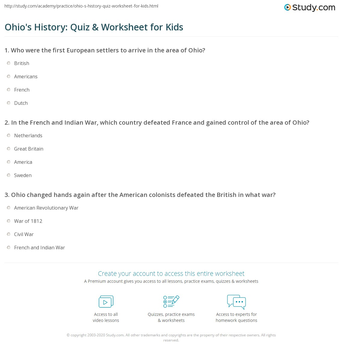 Ohio S History Quiz Amp Worksheet For Kids