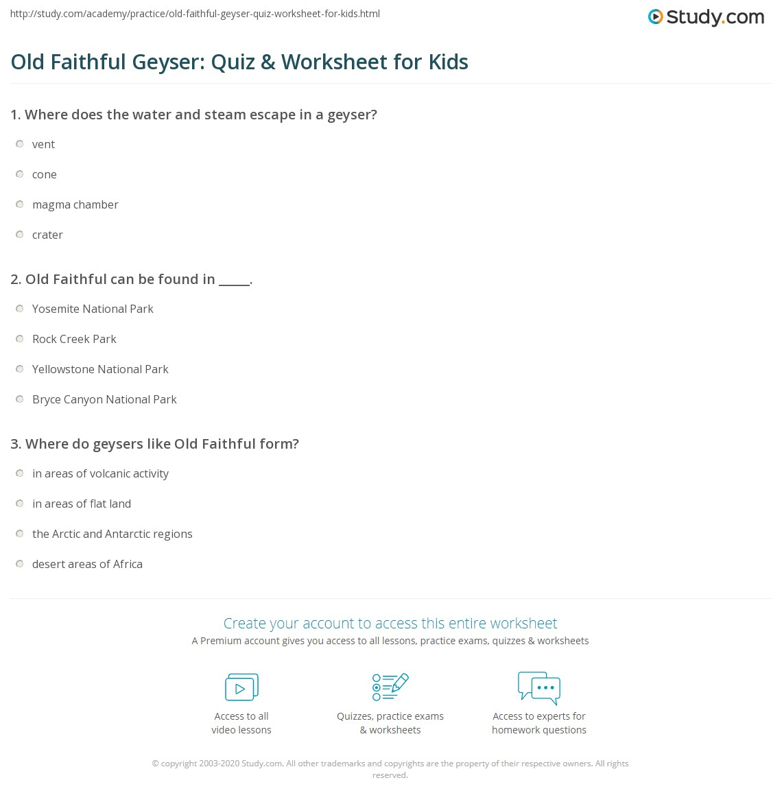 Old Faithful Geyser Quiz Amp Worksheet For Kids