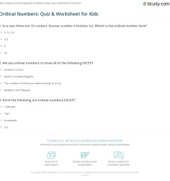 Ordinal Numbers: Quiz \u0026 Worksheet for Kids   Study.com [ 1169 x 1140 Pixel ]