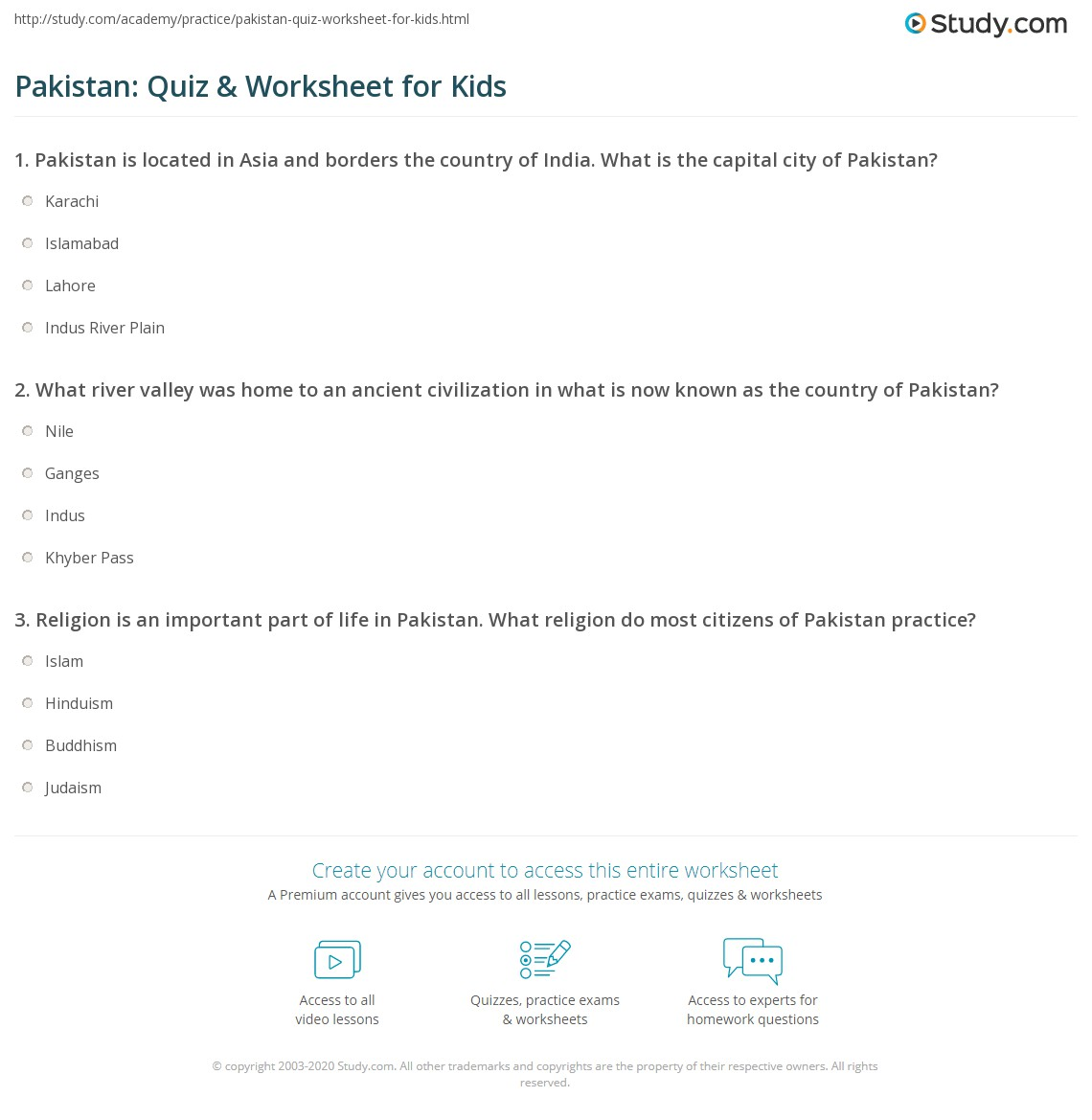 Pakistan Quiz Amp Worksheet For Kids