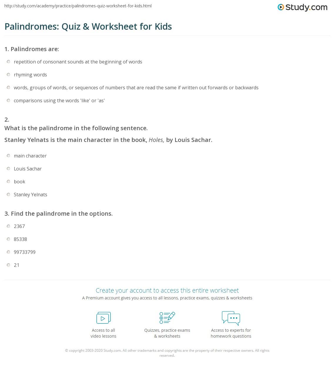 Palindromes Quiz Amp Worksheet For Kids