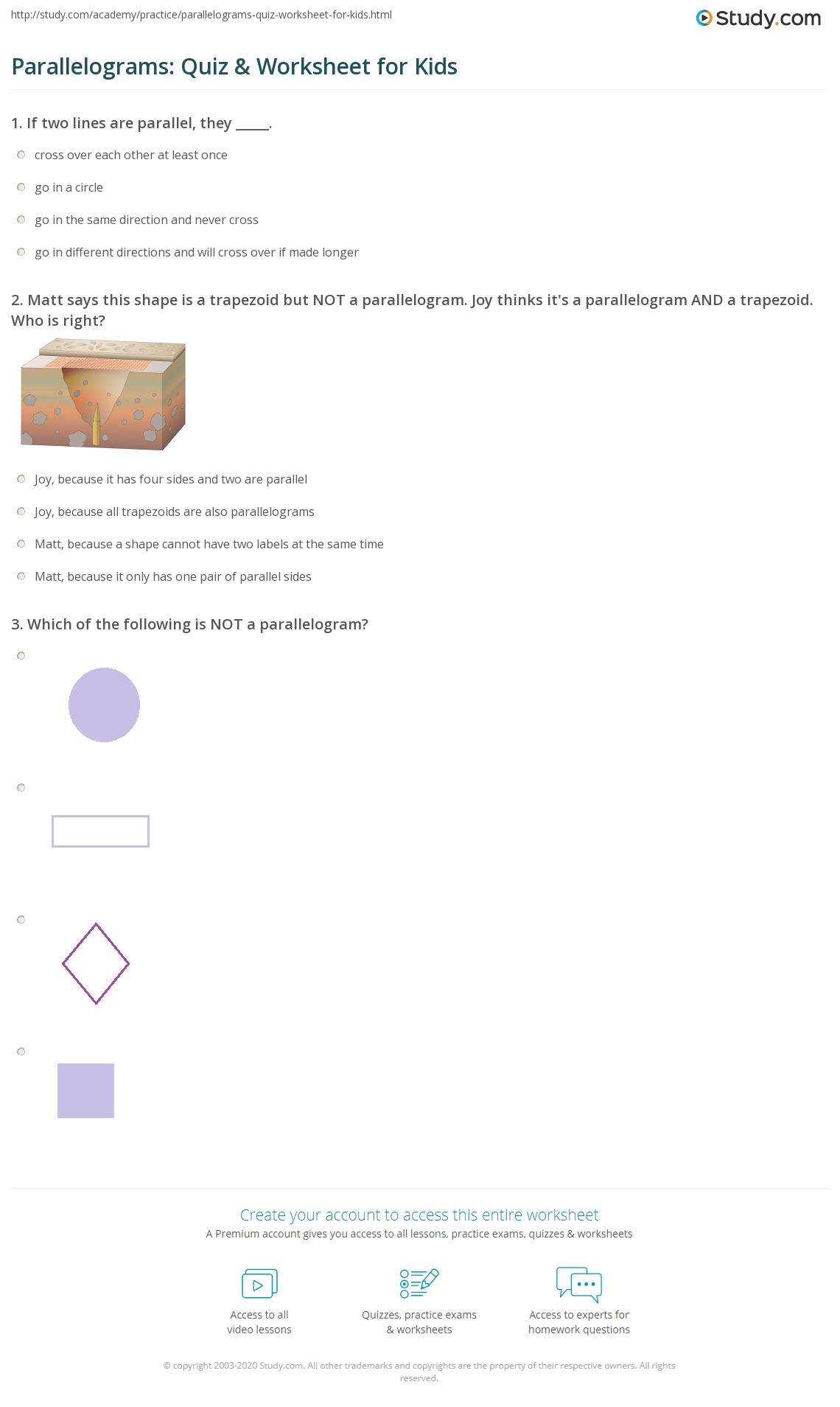 Parallelograms Quiz Amp Worksheet For Kids