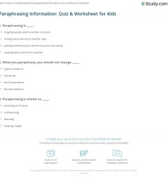 Paraphrasing Information: Quiz \u0026 Worksheet for Kids   Study.com [ 1169 x 1140 Pixel ]
