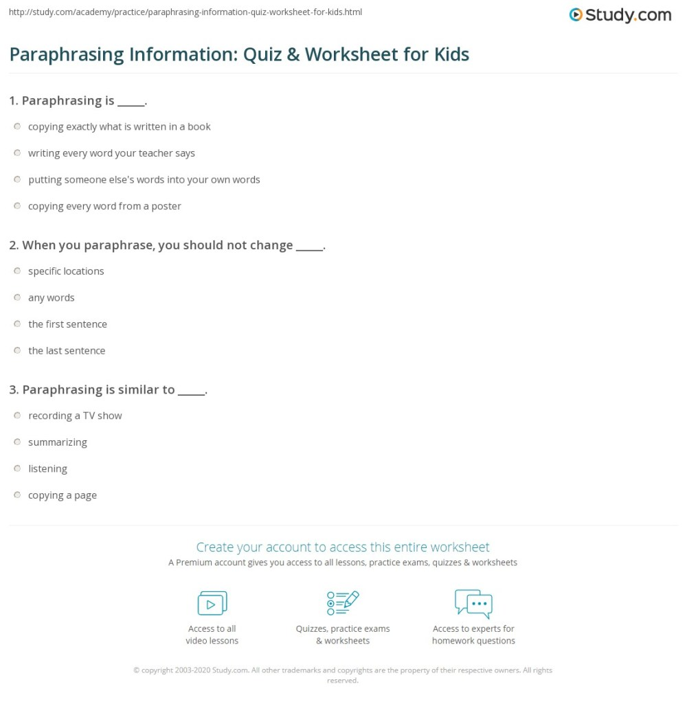 medium resolution of Paraphrasing Information: Quiz \u0026 Worksheet for Kids   Study.com